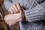 SERASAR 15cm Braun Männer-Armband Leder-Armreif Herren-Lederband Herrenarmreif Armschmuck Leder-Schmuck Herrenschmuck Flecht-Armband Leder-Wickelarmband Leder-Kette Armbändchen Men Leather Bracelet - 5