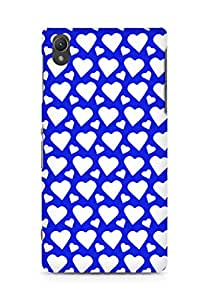 AMEZ designer printed 3d premium high quality back case cover for Sony Xperia Z2 (dark blue white hearts)