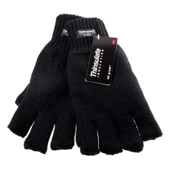 Mens M/L Black Thinsulate Insulation 40 gram Fingerless Gloves