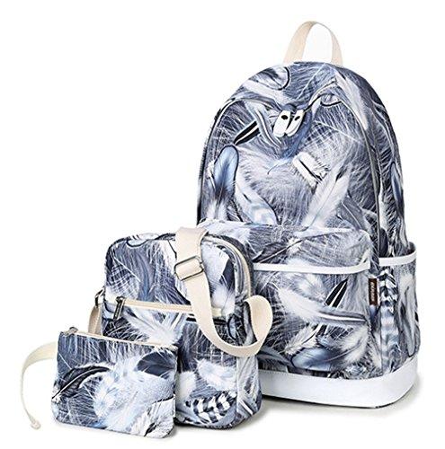Keshi Cool Schulrucksäcke/Rucksack Damen/Mädchen Vintage Schule Rucksäcke mit Moderner Streifen für Teens Jungen Studenten Grau