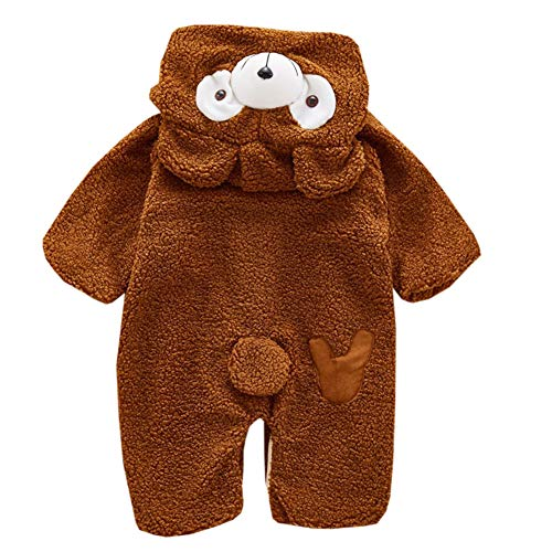 Fairy Baby Kleinkinder warme Strampler mit Kapuze Overall Winter Baby Kinder Outfit Size 100(2-3 Jahre) (Brown) Fleece Pyjama Sleeper