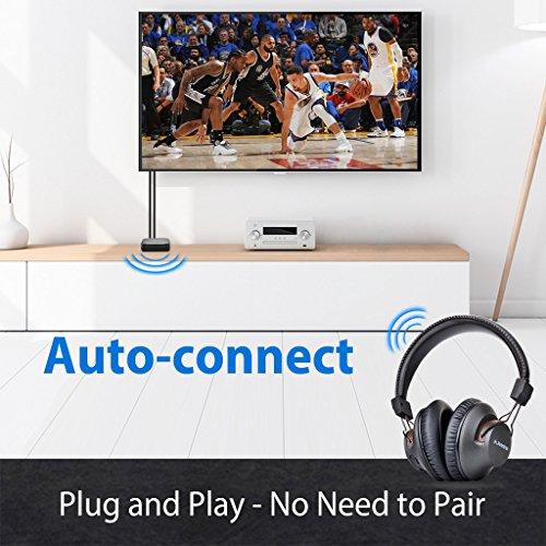 2018 Avantree HT4189 Kabellose Kopfhörer für Fernseher mit Bluetooth Transmitter, Unterstützt Optisch, RCA, 3.5mm AUX, PC USB Audio, Plug & Play, No Delay, 30m HOHE REICHWEITE 40 Std. Akku - 2