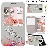Galaxy S5 Mini Hülle Fenster, Moon mood® PU Leder Schutzhülle für Samsung Galaxy S5 mini 4.5 Zoll mit PC Zurücke H�