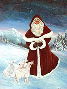 Caroline 's Treasures pjc1002gf A Spirit of Harmony Santa Claus Flagge, klein, multicolor