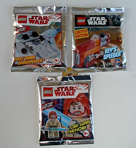 Lego Star Wars 3er Set Polybag Obi Wan Kenobi ,First Order Snowspeeder ,Rey´s Speeder und 2 Bauanleitungen, bmg2000 Goldstickeraufkleber Ovp auch für Adventskalender