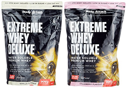 Body Attack Extreme Whey Deluxe, Strawberry Cream + Vanille, 1800 g, 2 Stück -