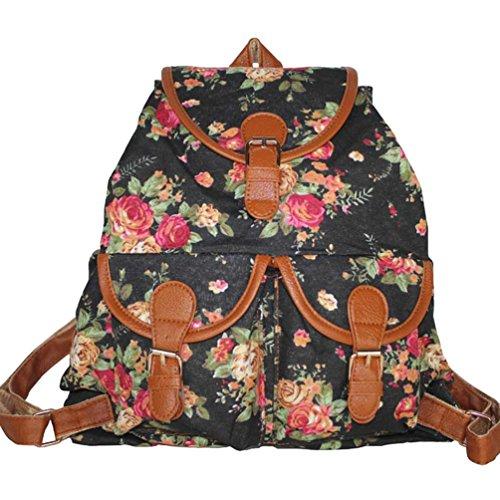 YiLianDa Damen Schultasche Mädchen Schulrucksack Vintage Retro Canvas Rucksack Schultasche Daypacks Freizeit Schwarz