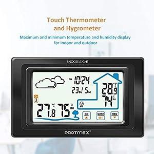 QueenHome Digitales Thermo-Hygrometer Thermometer Hygrometer Für Luftfeuchtigkeit Und Temperaturanzeige Mit Globalem Universellem Wettervorhersagewecker Für Das Büro Zu Hause