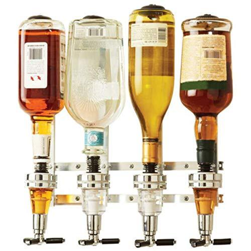 Janolia - Dispensador de Bebidas montado en la Pared, Soporte de 4 Medidas para Botellas, Mantequilla para Bebidas alcohólicas – Vodka, Whisky, Rum, Gin