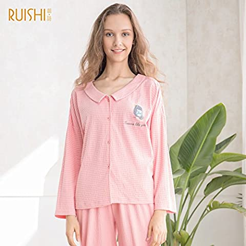 Neuer Fall Pyjama Baumwolle Spandex Langärmelige Langärmelige Pullover Weibliche Winter Freizeitanzug Inneneinrichtungsgegenstände Locker,Pink,M (12-14),