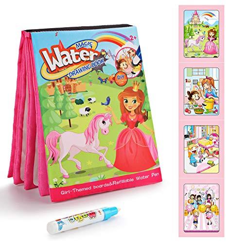 Fansteck Libro di Aquadoodle Disegno dell'Acqua, 1 Penne d'Acqua magiche, Giocattolo educativo Riutilizzabile Che Gioca i Regali creativi di Compleanno del Giocattolo per i Bambini - Ragazza