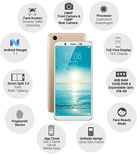 Vivo V7 (Champagne Gold, 4GB RAM, 32GB Storage) with Offers | Electronics,  Mobiles and Accessories, Smartphones, Smartphones and Basic Mobiles | Best
