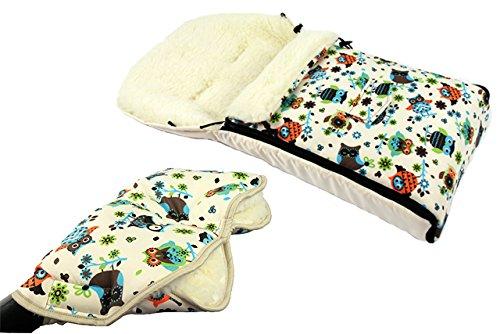 Babys-Dreams *KOMBIPAKET* MUFF + WINTERFUSSSACK 108cm - EULEN $4 - aus Lammwolle für Kinderwagen, Buggy, Radanhänger - WOLLE - Handwärmer