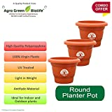 #8: Green And Pure - 10 Inch Round Flower Planter/Plant Containers (Pack Of 3, Brown Colour)