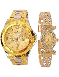 Stainless Steel Analog Gold Couple Watches Analog Watch -For Mens & Womens Couple