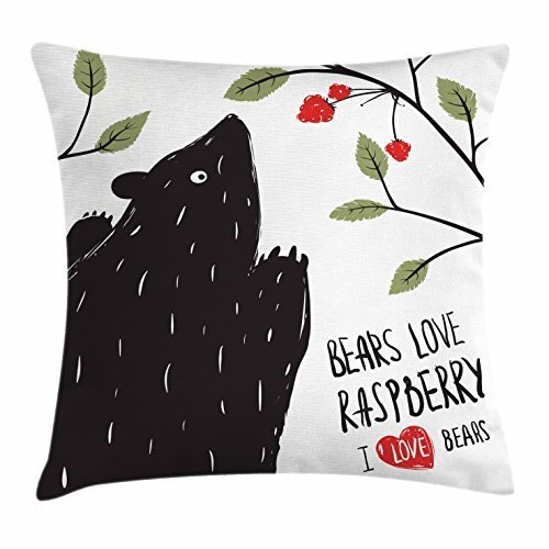 Integrity merchant Woodland Throw Pillow Cushion Cover, Abstract Wild Black Bear Looking at Raspberries in Tree with Desire, Decorative Square Accent Pillow Case, 18 X 18 Inches, Black Sage Green Red - Sage Green Coffee