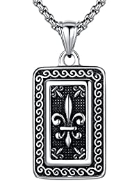 Stainless Steel Fleur-De-Lis Dog Tag Pendant Necklace, Round Link Chain - G2039QY1