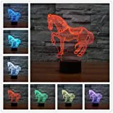 Caballo 3d Lámpara LED óptico Engaños Luz Nocturna, Yunplus 7 Cambio de Color Con Acrílico Flat & ABS Base & USB Cargador de Cambiar Toca Lámpara de Escritorio Lámpara de Mesa