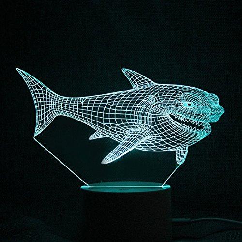 Trade® 3D Visual Marine Animal Shark 15Schlüssel Fernbedienung Touch Acryl Panel LED 7Farbe Home Dekoration Kinder Geschenke Nachttisch Nachtlicht