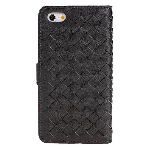 Phone case & Hülle Für iPhone 6 / 6S, Grid Texture Horizontale Leder Tasche mit Halter & Card Slots & Wallet & Lanyard ( Color : Black ) Black