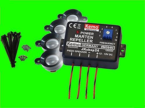 Marderstopp Marderscheuche Marderschutz Kemo M094 mit 4 Ultraschall-Lautsprechern + Befestigungsmaterial - Hochfrequente/Ultraschall Marder-/Tier-Abwehr
