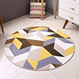 WW Modern Simple Geometric Circular Carpet Bedroom Living Room Nordic Carpet Bedside Computer Chair Cushion,Diameter 120CM