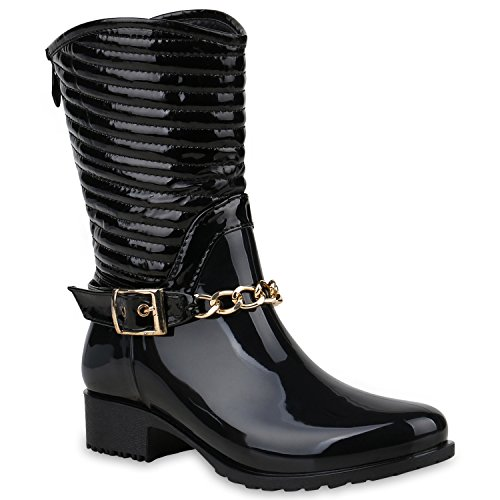 Gesteppte Damen Schuhe Gummistiefel Lack Stiefel Ketten 57421 Schwarz Avelar 39 Flandell (Stiefel Regen Schwarze Gesteppte)