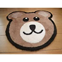 Bears Head Non Slip Machine Washable Sheepskin Style Kids Rug. Size 70cm x 90cm