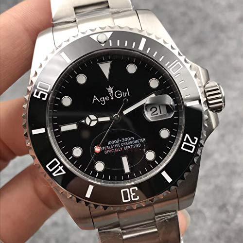 ZCCZJBXS Luxury Men Automatic Mechanical Watches Silver Black Blue Stainless Steel Ceramic Bezel Sapphire Watch Waterproof AAA+ Silver Black