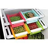 Saimani 4 Pcs Set of Refrigerator Plastic Storage Fridge Racks Tray Selves Shelf (Multicolour)