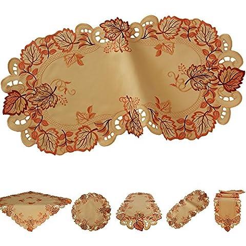 Otoño Camino de mesa Mantel Mantel Terracota de naranja oro marrón amarillo hojas, poliéster, Terracota, 45 cm x 110 cm