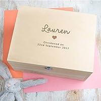 Handmade newborn gifts keepsakes amazon personalised baby girls christening gift for goddaughter keepsake box memory box boys negle Choice Image