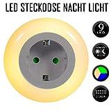 Emotionlite LED Enchufe de Luz Nocturna con Sensor de Crepúsculo. Iluminación de Indicador de Enchufe Integrada Iluminación Ambiental 0.6W 3 Colores (Verde, Azul, Blanco) Intercambiable Max.3680 (1 Paquete)