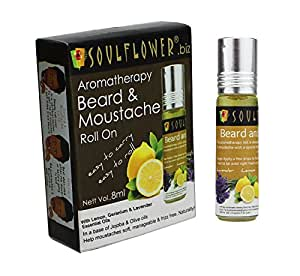 Soulflower Aromatherapy Beard and Moustache Roll On, 8ml