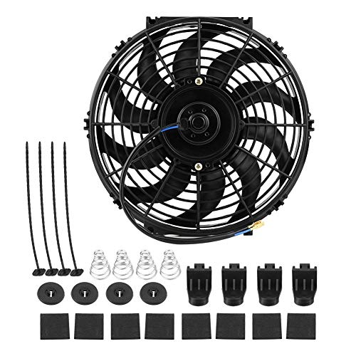 High Velocity Cooling Fan (ZAsee Electric Engine Fan,12 Inch Universal Car Slim Push Pull Electric Engine Radiator Cooling Fan 12V with Mounting Set Kit(12V))