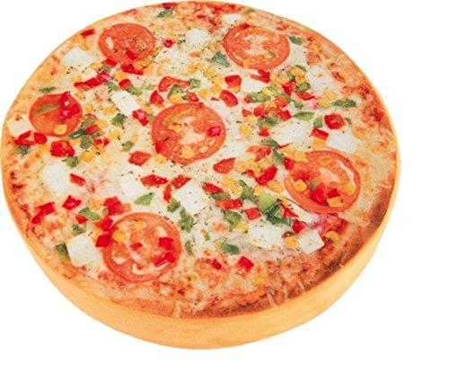 Cuscino di forma rotonda, diversi motivi (tronco d'albero/kiwi, aranzia, melone o pizza, imbottitura di morbida gommapiuma, comoda alternativa al normale cuscino, di grande effetto, di grande effetto Pizza