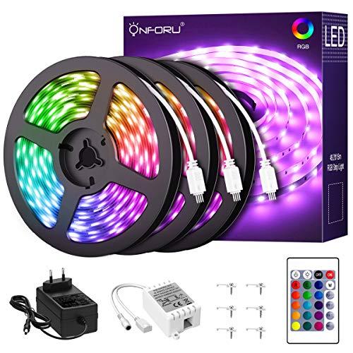 Onforu 15M RGB LED Strip, Farbwechsel Streifen 12V, 450er 2835 LED Band Selbstklebend, Farbig Lichtband mit Fernbedienung, Flexibel Lichterleiste Leuchtband mit Netzteil für Bett, Zimmer, Party Deko