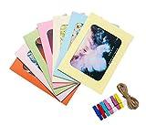CAOLATOR carta cornice Collagene foto cornice foto appeso visualizzazione colorato con 10cornice, 10piccole mollette di legno e 1–Spago, Cartone, 13x18 Cm, 13x18 cm