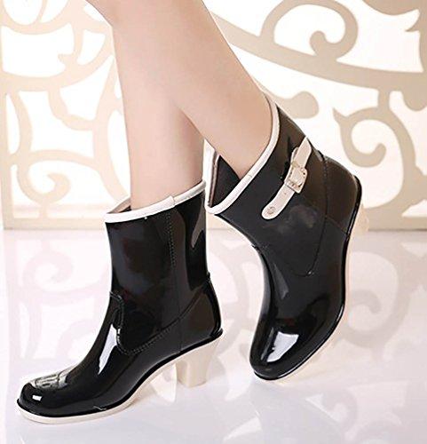 LvRao Damen Wasserdicht Regen Stiefel Hohe Knöchel Boots Gummistiefeln der Frauen Glatt Stiefeletten Schwarz