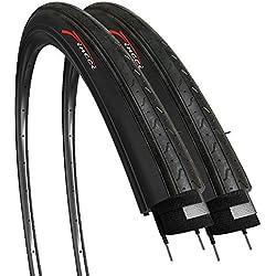 Fincci Par 700 x 23c 23-622 Cubiertas con 2.5mm Anti Pinchazo 60TPI para Ciclo Carrera Carretera Turismo Bici Bicicleta (Paquete de 2)