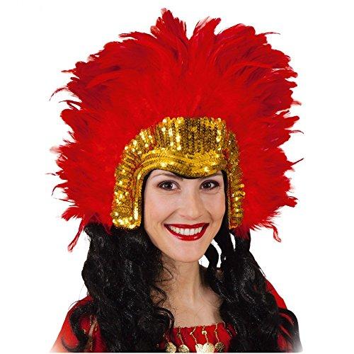 Kopfschmuck Tanz Kostüm - Unbekannt Samba Kopfschmuck Rio rot-Gold mit Federn Tanz Kostüm Straßenkarneval Brasilien