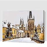 Puente De Carlos En Las Pinturas De Invierno De Praga Por Números Con Pinturas Acrílicas Para La Decoración Del Hogar 40X50CM