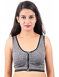 Rahseh Zipper Front-Open Soft Padded Women Bra for Intense Running, Yoga, Sports 251515