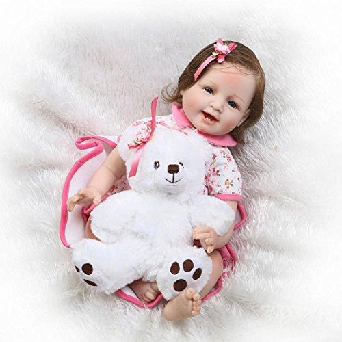 Nicery Reborn Puppe, 55 cm, hartes Silikon, für Kindergeburtstage, Faserhaar, A3UK