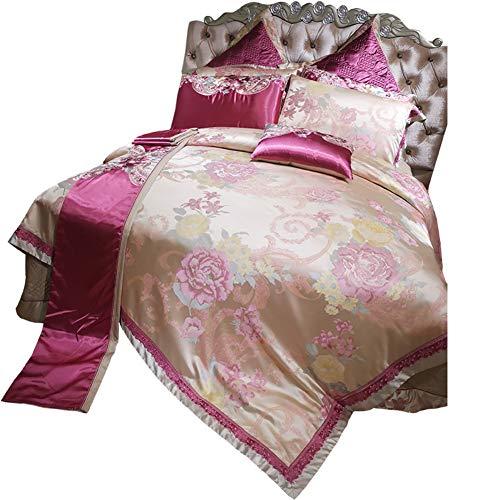 JYTT Hellrosa Luxus Jacquard 10 stück Bettzeug, Faux Seide Schlafzimmer Bettdecken Allergiker Weiches Gemütlich Bettwäsche-Sets tröster-A Queen2 -