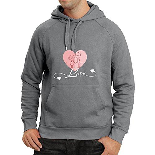 Felpa con cappuccio ti amo ! regali d'amore per il tuo valentino segreto (large grafite multicolore)