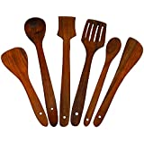 WOODEN Multipurpose Serving And Cooking Spoon Set For Non Stick Spoon For Cooking Baking Kitchen Tools Essentials Wooden Non Stick Spatulas & Ladles Wooden Spoon Set Of 6 | 1 Frying, 1 Serving, 1 Spatula, 1 Chapati Spoon, 1 Desert For Kitchen & Di