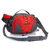 Outdoor Hüfttasche Groß mit Getränkehalter Wasserfest Bauchtasche mit Flaschenhalter - für Wandern Camping Reise usw um Wertsachen mit sich zu tragen. Einstellbar & reflektierend. (Rot)