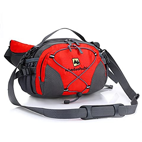 Red Lightweight Lumbar Waist Pack with Drinks Holder from AdventureAustria. Large Water Resistant Bum Bag Fanny Pouch Belt Suitable for Outdoor Sports Fitness Cycling Jogging Hiking Dog Walking Camping Travel Activities etc. Ideal Bag for Carrying Money Mobile Phone iPhone Keys Wallet Bottles & Valuables. Adjustable & Reflective. Suitable for Men Women Children. Available in Black Grey Blue Green & Red.