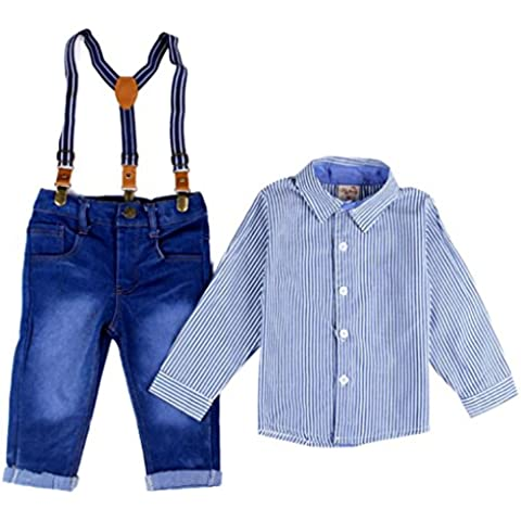 Kingko® Bambino Ragazzi a righe collare Camicia Top Salopette + cinghie tuta jeans Outfit 1 Set i vestiti dei capretti